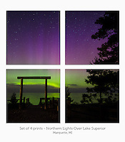 Display a print in a different way with this 4-print photo split of the Northern Lights over Lake Superior on July 15, 2013. Marquette, MI