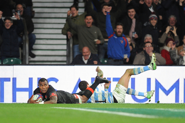 Semesa Rokoduguni of England scores late try during the Old Mutual Wealth Series match between England and Argentina at Twickenham Stadium on Saturday 11th November 2017 (Photo by Rob Munro/Stewart Communications)