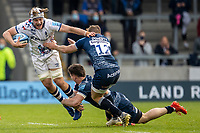 28th May 2021; AJ Bell Stadium, Salford, Lancashire, England; English Premiership Rugby, Sale Sharks versus Bristol Bears; Dave Attwood of Bristol Bears is tackled by Tom Curry and Connor Doherty of Sale Sharks