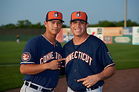 Connecticut Tigers Jose Vasquez (left) and Oswaldo Castillo (right) pose for a photo before a game against the Auburn Doubledays on August 9, 2017 at Falcon Park in Auburn, New York.  Connecticut defeated Auburn 6-4.  (Mike Janes/Four Seam Images)