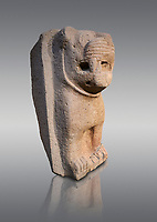 Hittite monumental relief sculpture of a lion. Adana Archaeology Museum, Turkey. Against a grey background