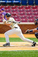 Grant Shambley #43 of the Wake Forest Demon Deacons follows through on his swing against the Georgia Tech Yellow Jackets at Wake Forest Baseball Park on April 15, 2012 in Winston-Salem, North Carolina.  The Demon Deacons defeated the Yellow Jackets 11-3.  (Brian Westerholt/Four Seam Images)