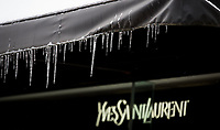 icicles hanging above a Yves Saint Laurent sign at House of Fraser store in Oxford street as the Beast from the East weather continues at City of London, London, England on 1 March 2018. Photo by Andy Rowland.