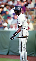 Birmingham Barons Michael Jordan (45) on deck during a 1994 Southern League game against the Orlando Cubs at Tinker Field in Orlando, Florida.  (Tyler Bolden/Four Seam Images)