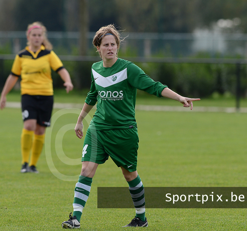 20151024 - ZWEVEZELE , BELGIUM : Charlotte Van Wynsberghe pictured during a soccer match between the women teams of SKV Zwevezele Ladies and KSOC Maria Ter Heide  , during the eight matchday in the Third League - Derde Nationale season, Saturday 24 October 2015 . PHOTO DAVID CATRY