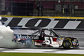 NASCAR Camping World Truck Series<br /> North Carolina Education Lottery 200<br /> Charlotte Motor Speedway, Concord, NC USA<br /> Friday 19 May 2017<br /> Kyle Busch, Cessna Toyota Tundra celebrates his win with a burnout<br /> World Copyright: Nigel Kinrade<br /> LAT Images<br /> ref: Digital Image 17CLT1nk05261
