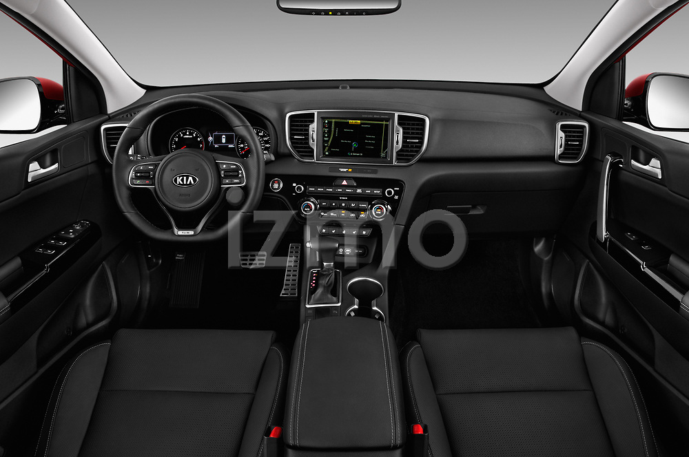 Stock photo of straight dashboard view of a 2019 KIA Sportage SX Turbo 5 Door SUV
