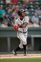 Right fielder Isranel Wilson (5) of the Rome Braves bats in a game against the Greenville Drive on Saturday, April 14, 2018, at Fluor Field at the West End in Greenville, South Carolina. Rome won, 4-0. (Tom Priddy/Four Seam Images)
