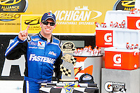 18 June, 2011: Carl Edwards celebrates his win in the Alliance Truck Parts 250 at Michigan International Speedway in Brooklyn, Michigan. (Photo by Jeff Speer :: SpeerPhoto.com)