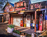 Antique store, garage and gas station front. Near Monroe, Oregon