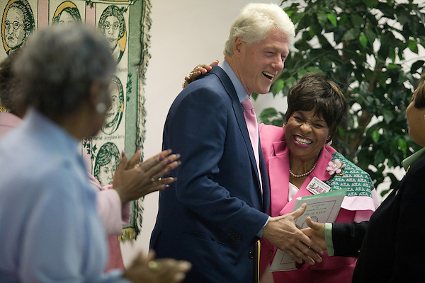 December 8, 2007. Charleston, SC.. Former president Bill Clinton campaigned in South Carolina for his wife Hillary in her bid for the presidency of the US. Clinton met with members of the Alpha Kappa Alpha sorority to rally support for Mrs. Clinton's health care program.
