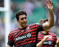 Kelly Brown of Saracens thanks fans on a victory lap after winning the Heineken Cup semi-final match between Saracens and ASM Clermont Auvergne at Twickenham Stadium on Saturday 26th April 2014 (Photo by Rob Munro)