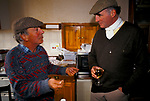 'DUKE OF BEAUFORT HUNT', THE CAPTAIN HAS A DRINK WITH A LOCAL FARMER, WHO'S LAND THEY ARE HUNTING OVER, AFTER THE HUNT