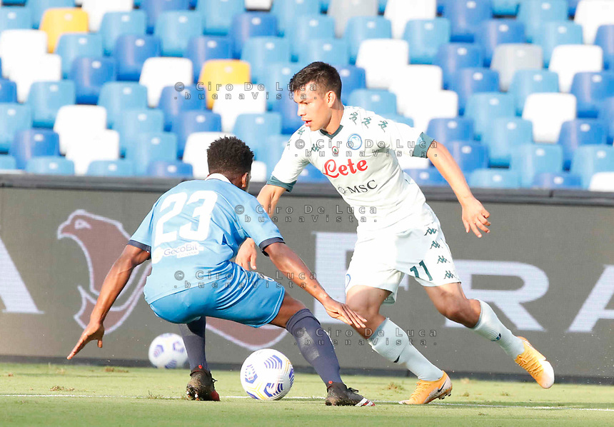 Hirving Lozano of Napoli during a friendly match Napoli - Pescara  at Stadio San Paoli in Naples