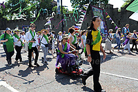 Women and Girls take part in the Suffragettes procession to remember the 100 years historic event. Cardiff, Wales, Sunday 10th June 2018<br /> <br /> <br /> Jeff Thomas Photography -  www.jaypics.photoshelter.com - <br /> e-mail swansea1001@hotmail.co.uk -<br /> Mob: 07837 386244 -