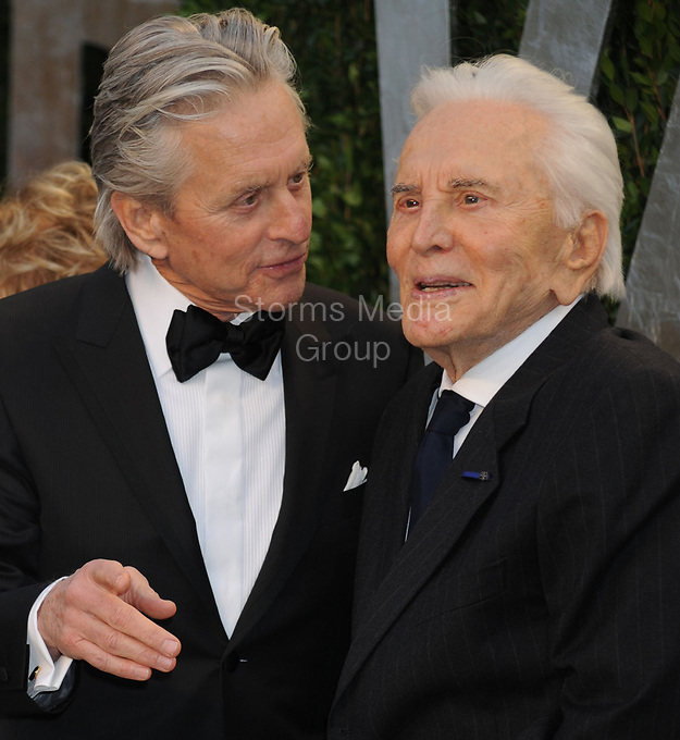 WEST HOLLYWOOD, CA - FEBRUARY 26:  Michael Douglas_Kirk Douglas arrives at the 2012 Vanity Fair Oscar Party hosted by Graydon Carter at Sunset Tower on February 26, 2012 in West Hollywood, California<br /> <br /> People:  Michael Douglas_Kirk Douglas