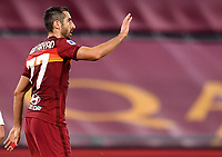 Henrikh Mkhitaryan of AS Roma celebrates after scoring the goal of 3-1 during the Serie A football match between AS Roma and Benevento Calcio at Olimpico stadium in Roma (Italy), October 18th, 2020. The goal was cancelled by VAR.   Photo Antonietta Baldassarre / Insidefoto