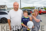 Gerard, Jayden and Catriona Foley with Star the dog from Farrenfore supporting the Maurice McCrohan Memorial Balloon Fundraiser in Ballyheigue on Monday, for the Kerry Palliative Care Unit.