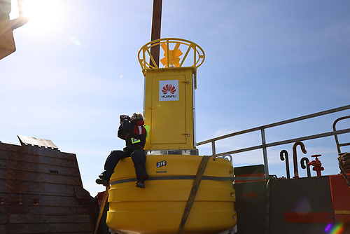 A massive 2 tonne, 13ft buoy was dropped into the Celtic Sea off the coast of Baltimore, Co. Cork as part of Ireland's first-ever real-time acoustic monitoring project of cetacean species (whales, dolphins and porpoise) to examine the impact rising ocean noise pollution has on Irish marine life. The buoy will spend the next 12 months recording whale species as part of the Smart Whale Sounds project carried out by Ocean Research & Conservation Association Ireland, supported by Rainforest Connection and Huawei Ireland through its TECH4ALL programme. Pictured is Dr Emer Keaveney, Marine Mammal Ecologist, Ocean Research & Conservation Association Ireland