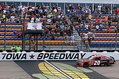 #20: Christopher Bell, Joe Gibbs Racing, Toyota Camry Ruud drives under the checkered flag to win