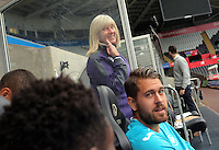Pictured: Sue Eames and Kristoffer Nordfeldt Wednesday 29 September 2016<br /> Re: Swansea City FC official squad shoot at the Liberty Stadium, Wales, UK.