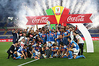 Napoli players celebrate at the end of the Italian Cup football final match between Napoli and Juventus at Rome's Olympic stadium, June 17, 2020. Napoli won 4-2 at the end of a penalty shootout following a scoreless draw.<br /> UPDATE IMAGES PRESS/Isabella Bonotto