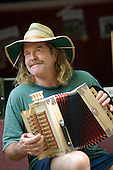 An accordionist plays Cajun style at the 31st International Festival of Luthiers and Maitres Sonneurs, in Saint Chartier, France.