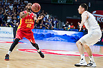 Real Madrid's player Maciulis and UCAM Murcia's player Kelati during the third match of the Liga Endesa Playoff at Barclaycard Center in Madrid. May 31. 2016. (ALTERPHOTOS/Borja B.Hojas)