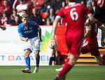 Aberdeen v St Johnstone...31.08.13      SPFL<br /> David Wotherspoon's shot is pushed round the post by Jamie Langfield<br /> Picture by Graeme Hart.<br /> Copyright Perthshire Picture Agency<br /> Tel: 01738 623350  Mobile: 07990 594431