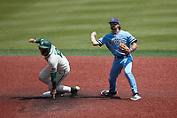 Old Dominion Monarchs shortstop Tommy Bell forces out Aaron McKeithan (12) of the Charlotte 49ers at second base at Hayes Stadium on April 25, 2021 in Charlotte, North Carolina. (Brian Westerholt/Four Seam Images)