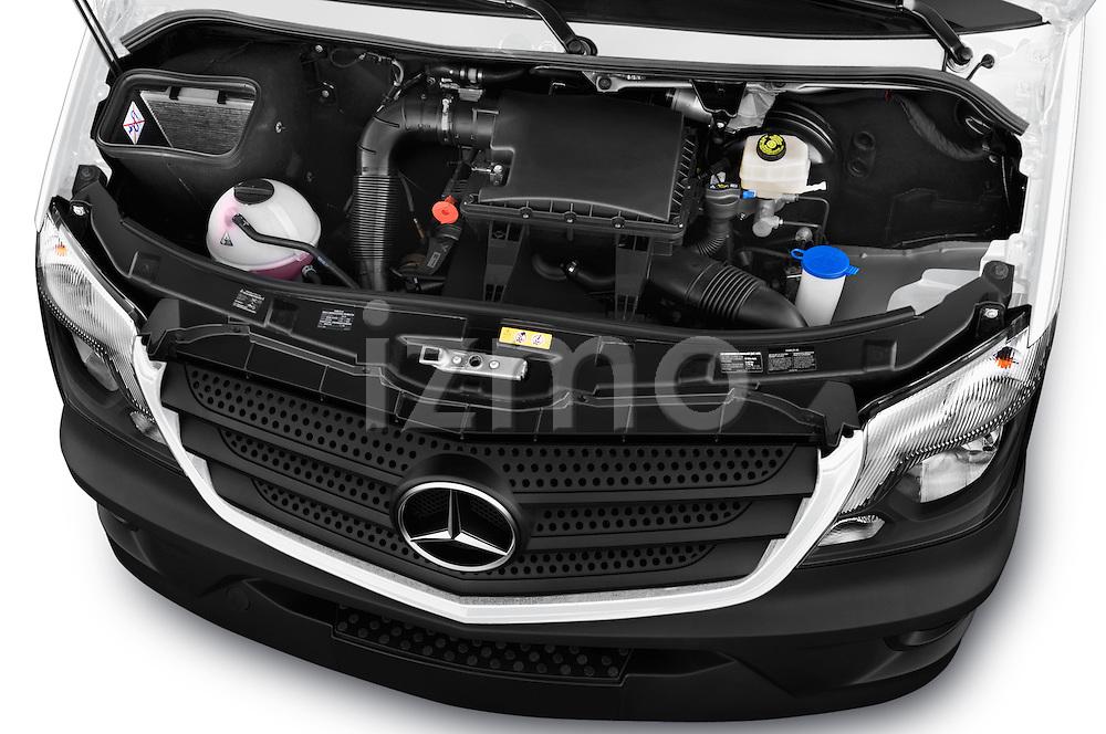 Car Stock 2017 Mercedes Benz Sprinter-Crew-Van 2500-170-WB-High-Roof 4 Door Combi Engine  high angle detail view