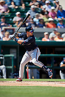 Atlanta Braves right fielder Adam Duvall (23) at bat during a Grapefruit League Spring Training game against the Detroit Tigers on March 2, 2019 at Publix Field at Joker Marchant Stadium in Lakeland, Florida.  Tigers defeated the Braves 7-4.  (Mike Janes/Four Seam Images)