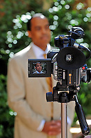 Jun. 16, 2009; Casa Grande, AZ, USA; United Football League commissioner Michael Huyghue speaks to the media prior to the groundbreaking of the Casa Grande Training Facility & Performance Institute in Casa Grande.  Mandatory Credit: Mark J. Rebilas-