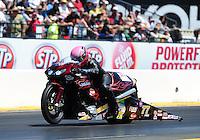 Jul. 31, 2011; Sonoma, CA, USA; NHRA pro stock motorcycle rider Angie Smith during the Fram Autolite Nationals at Infineon Raceway. Mandatory Credit: Mark J. Rebilas-