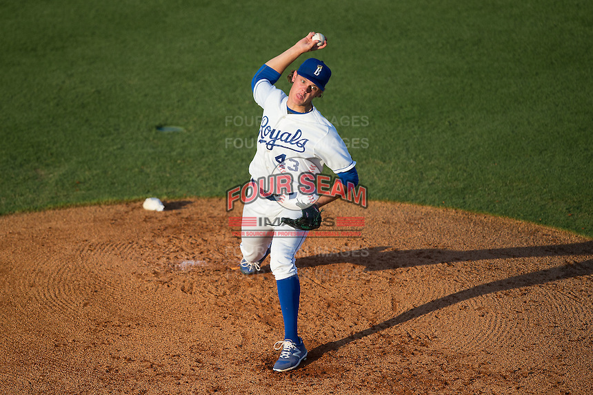 Burlington Royals starting pitcher Ashe Russell (43) in action against the Bluefield Blue Jays at Burlington Athletic Park on June 29, 2015 in Burlington, North Carolina.  The Royals defeated the Blue Jays 4-1. (Brian Westerholt/Four Seam Images)