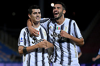 Alvaro Morata of Juventus FC celebrates with team mate Gianluca Frabotta after scoring the goal of 1-0 during the Serie A football match between FC Crotone and Juventus FC at stadio Ezio Scida in Crotone (Italy), October 17th, 2020. Photo Federico Tardito / Insidefoto