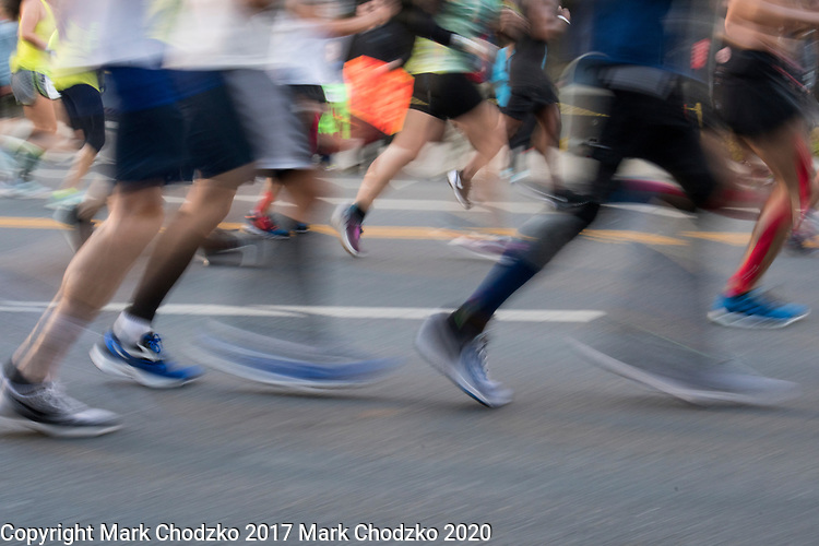 Los Angeles Marathon runners in motion.