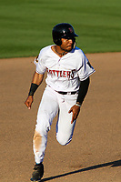 Wisconsin Timber Rattlers designated hitter LG Castillo (27) races to third base during a game against the West Michigan Whitecaps on May 22, 2021 at Neuroscience Group Field at Fox Cities Stadium in Grand Chute, Wisconsin.  (Brad Krause/Four Seam Images)