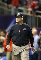 Feb 3, 2013; New Orleans, LA, USA; San Francisco 49ers head coach Jim Harbaugh against the Baltimore Ravens in Super Bowl XLVII at the Mercedes-Benz Superdome. Mandatory Credit: Mark J. Rebilas-