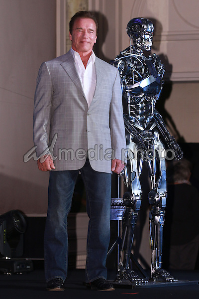 "02 July 2015 - Seoul, Korea - Arnold Schwarzenegger attends the premiere of ""Terminator Genisys"". Photo Credit: Topphoto/face to face/AdMedia"