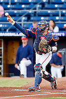 Virginia Cavaliers catcher Nate Irving #18 throws the ball to third base after a strikeout during the game against the Duke Blue Devils at Durham Bulls Athletic Park on April 20, 2012 in Durham, North Carolina.  The Blue Devils defeated the Cavaliers 6-3.  (Brian Westerholt/Four Seam Images)