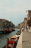 Venice:  Island of Murano--canal and sidewalk.  Photo '83.
