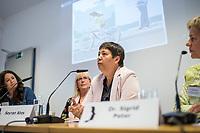 """Pressekonferenz der Menschenrechtsorganisation """"Terre des Femmes"""" am Donnerstag den 23. August 2018 in Berlin, anlaesslich ihrer Petition """"Den Kopf frei haben!"""", die sich fuer ein Verbot des sogenannten """"Kinderkopftuch"""" fuer Maedchen unter 18 Jahren einsetzt. Fuer Terre des Femmes ist das Kinderkopftuch der Missbrauch von Kindern fuer eine Religion und eine Kinderrechtsverletzung.<br /> Ziel der Unterschriftensammlung fuer die Petition sind 100.000 Unterschriften.<br /> Im Bild vlnr.: Nina Coenen, Terre des Femmes; Prof. Dr. Susanne Schroeter, Direktorin des Frankfurter Forschungszentrum Globaler Islam; Seyran Ates, Rechtsanwaeltin und Imamin an der liberalen Ibn-Rushd-Goethe-Moschee in Berlin und Dr. Sigrid Peter, Vizepraesidentin des Bundesverbands des Kinder- und Jugendaerzte.<br /> 23.8.2018, Berlin<br /> Copyright: Christian-Ditsch.de<br /> [Inhaltsveraendernde Manipulation des Fotos nur nach ausdruecklicher Genehmigung des Fotografen. Vereinbarungen ueber Abtretung von Persoenlichkeitsrechten/Model Release der abgebildeten Person/Personen liegen nicht vor. NO MODEL RELEASE! Nur fuer Redaktionelle Zwecke. Don't publish without copyright Christian-Ditsch.de, Veroeffentlichung nur mit Fotografennennung, sowie gegen Honorar, MwSt. und Beleg. Konto: I N G - D i B a, IBAN DE58500105175400192269, BIC INGDDEFFXXX, Kontakt: post@christian-ditsch.de<br /> Bei der Bearbeitung der Dateiinformationen darf die Urheberkennzeichnung in den EXIF- und  IPTC-Daten nicht entfernt werden, diese sind in digitalen Medien nach §95c UrhG rechtlich geschuetzt. Der Urhebervermerk wird gemaess §13 UrhG verlangt.]"""
