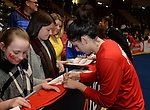Wales Suzy Drane (Capt) signs autographs for fans  <br /> <br /> Swansea University International Netball Test Series: Wales v New Zealand<br /> Ice Arena Wales<br /> 08.02.17<br /> ©Ian Cook - Sportingwales