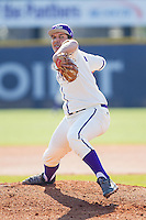 High Point Panthers starting pitcher Andre Scrubb (16) in action against the Bowling Green Falcons at Willard Stadium on March 9, 2014 in High Point, North Carolina.  The Falcons defeated the Panthers 7-4.  (Brian Westerholt/Four Seam Images)