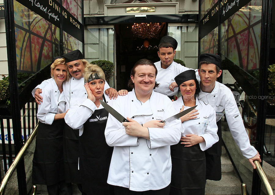 21/06/'11 Chef Conrad Gallagher of TV3's Celebrity Head Chef series pictured outside  his  'Dining Room' Restaurant with contestants, from left, Mary Burke, Wagner, Adel King, Michael Hayes, Geraldine O'Callaghan and Kohlin Harris...NO REPRODUCTION FEE PIC...Picture Colin Keegan, Collins, Dublin.