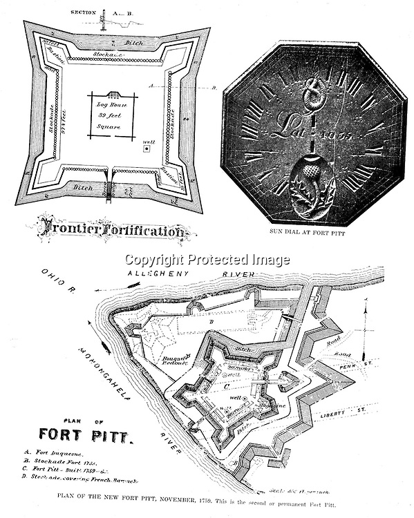 1758 - Diagram of Fort Pitt build during the French and Indian War. Diagrams were included in the Blockhouse during the 1948 on-location assignment for AG Trimble Company.