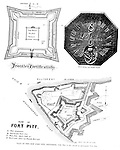 Diagram of Fort Pitt build during the French and Indian War. Diagrams were included in the Blockhouse during the 1948 on-location assignment for AG Trimble Company.