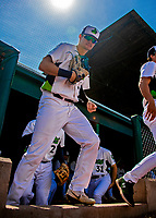 3 September 2018: Vermont Lake Monsters outfielder Noah Vaughan prepares to take the field prior to a game against the Tri-City ValleyCats at Centennial Field in Burlington, Vermont. The Lake Monsters defeated the ValleyCats 9-6 in the last game of the 2018 NY Penn League regular season. Mandatory Credit: Ed Wolfstein Photo *** RAW (NEF) Image File Available ***
