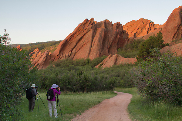Photographers at sunrise in Roxborough State Park, Colorado Rocky Mountain National Park tours.